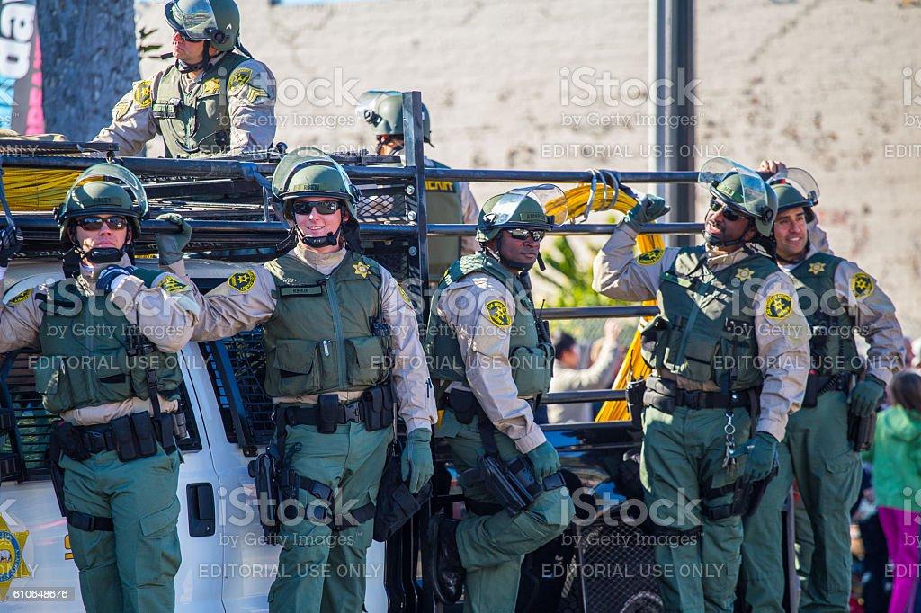 Police activity during pasadena rose parade 2016 stock photo