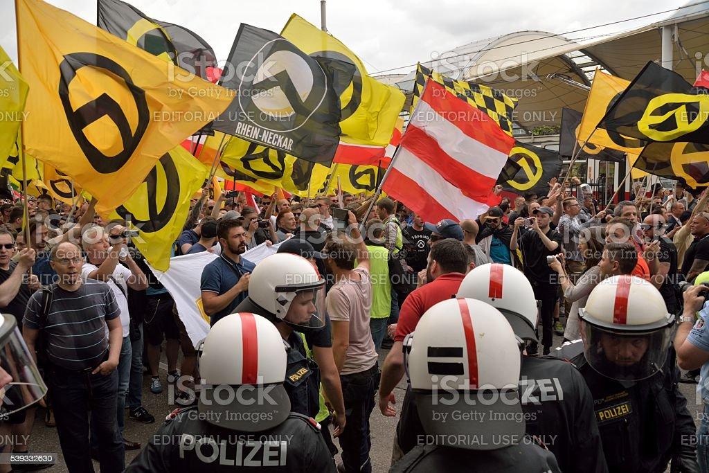 Police against demonstrators stock photo