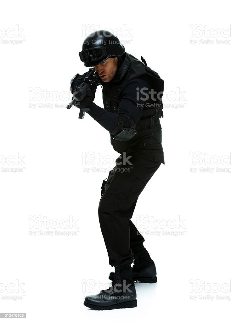Police aiming with rifle stock photo