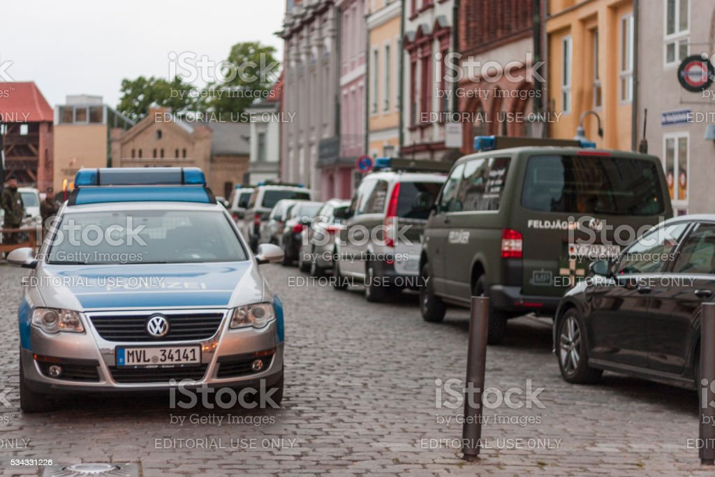 Police and Army Cars during the swearing-in ceremony in Stralsund stock photo