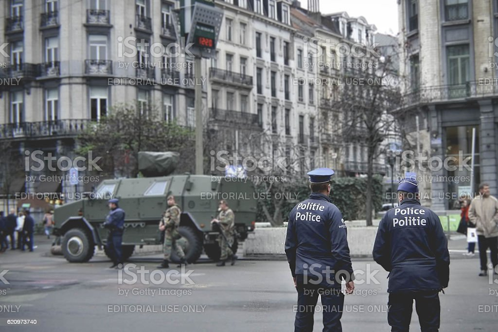 Police and army preventing terrorists attack. stock photo