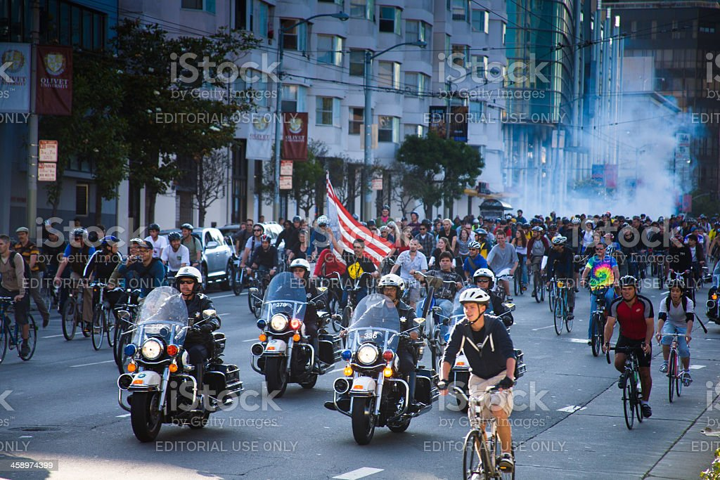 Police and Cyclists at San Francisco Critical Mass stock photo