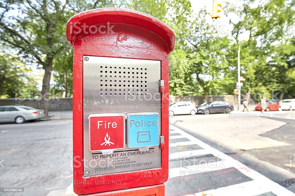 Police and Fire emergency call box. stock photo