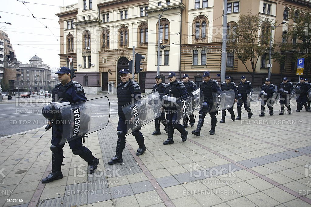 Police and Pride in Belgade royalty-free stock photo