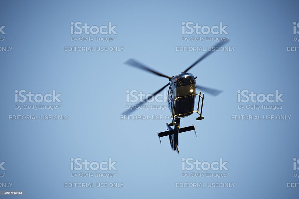 Police and rescue helicopter stock photo