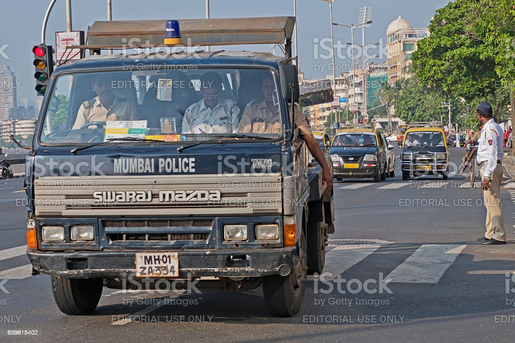 Police and traffic in Mumbai stock photo