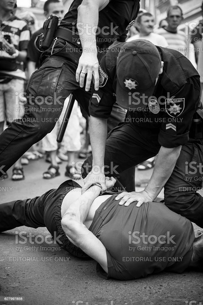 Police arresting a man in Lviv, Ukraine stock photo