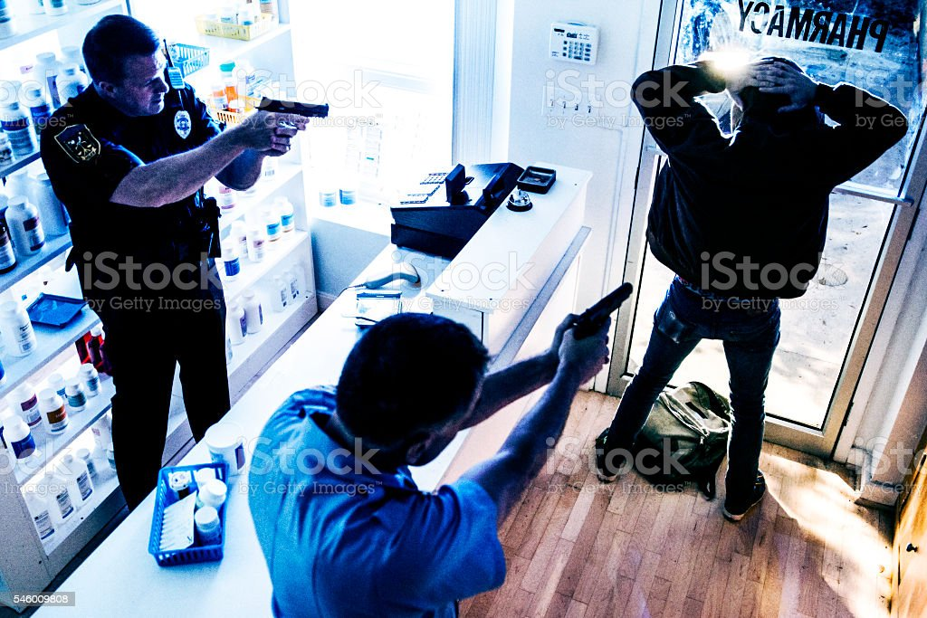 Police Arresting Suspect stock photo