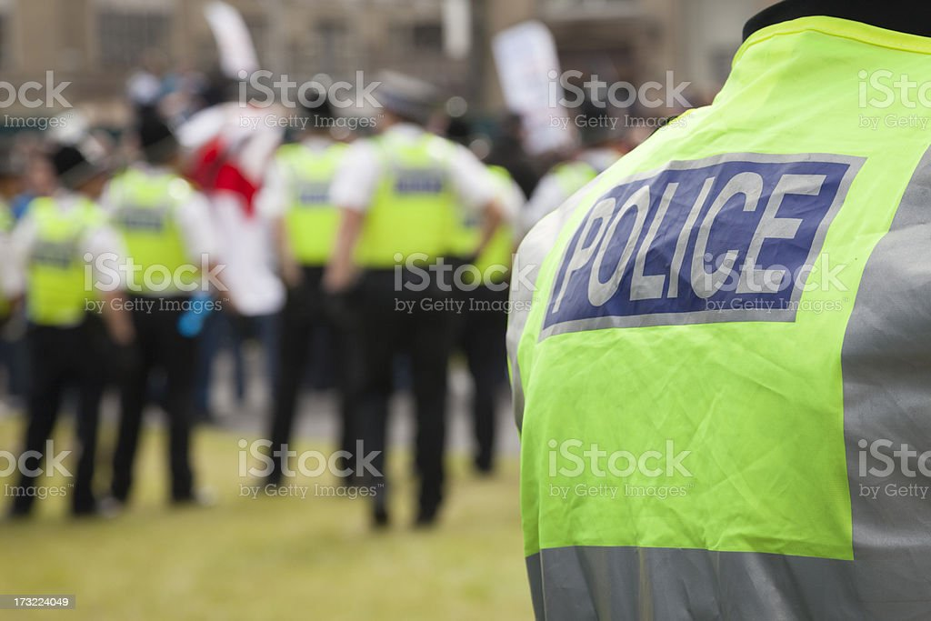 Police at a protest rally stock photo