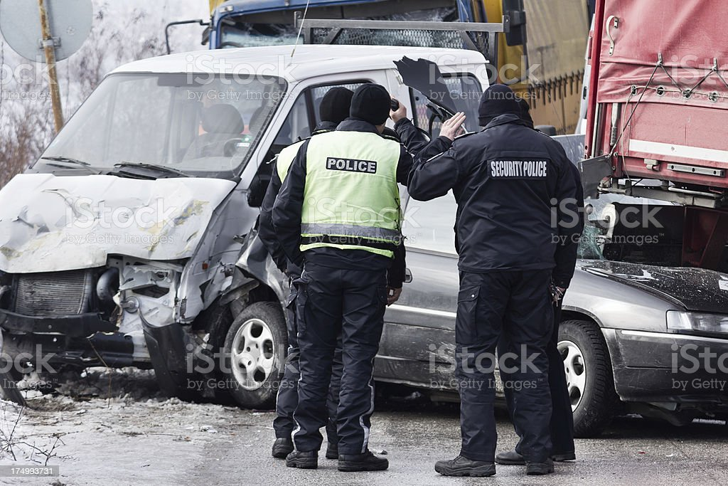 Police at Accident Scene stock photo