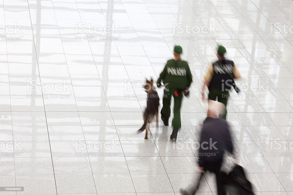 police at the airport stock photo
