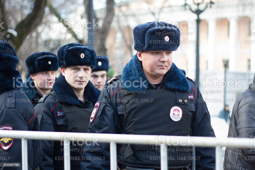 Police at the opposition rally in memory of Nemtsov stock photo