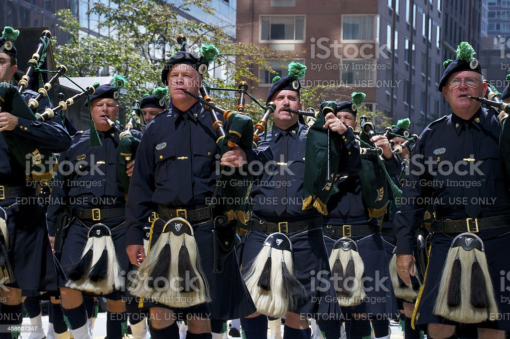 Police bagpipers marching at NYPD 9/11 Memorial Service, NYC stock photo