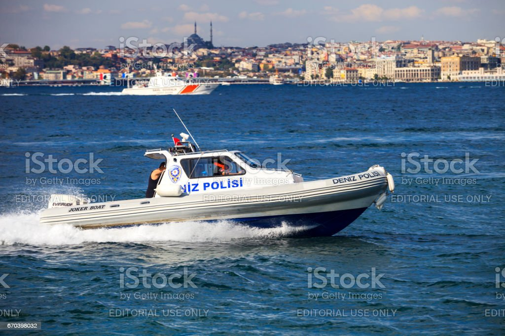 Police boat, Istanbul stock photo