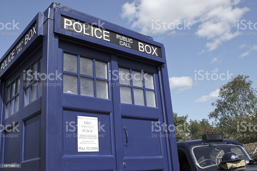 Police box and car stock photo
