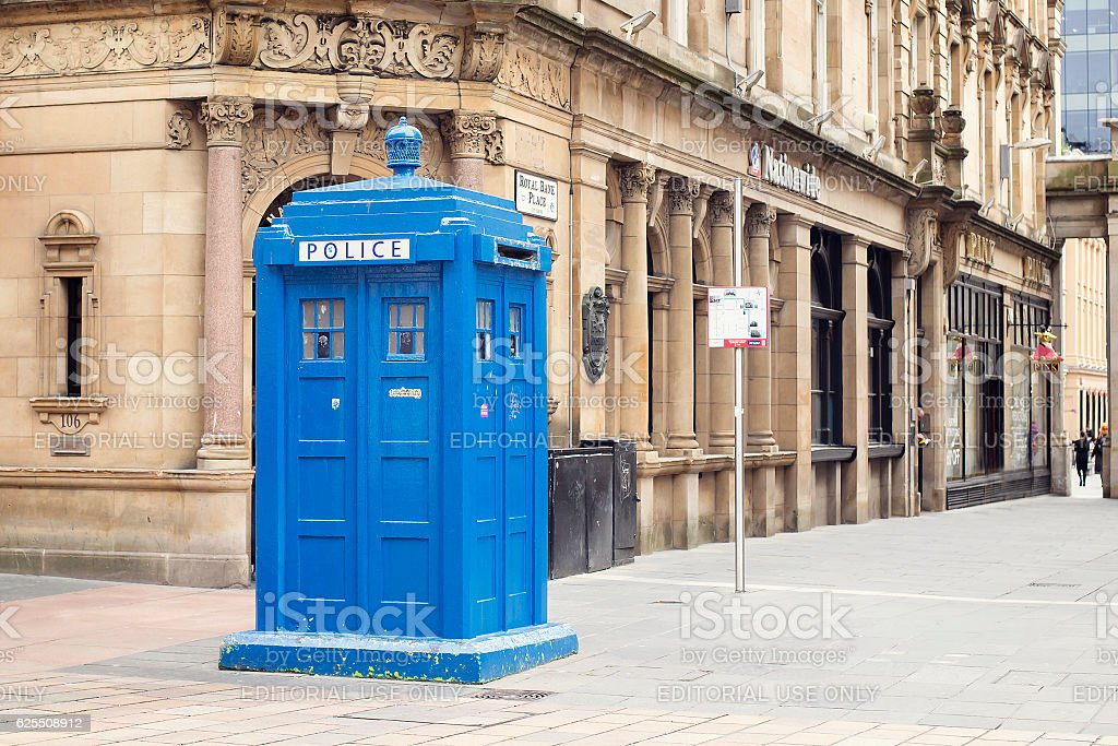Police box on Buchanan Street in Glasgow. stock photo