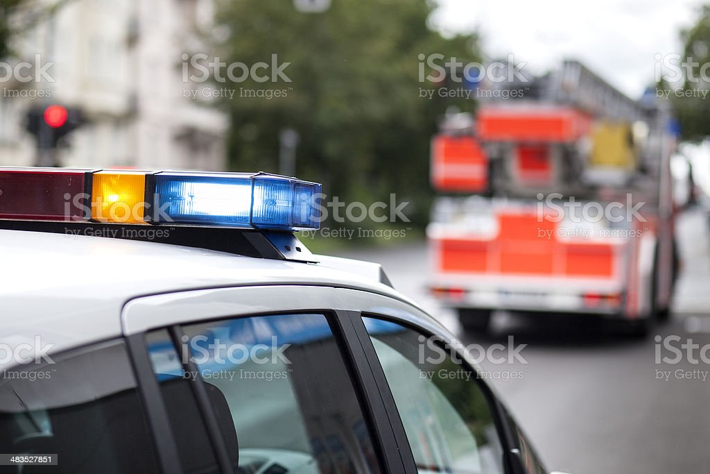 Police car and fire engine truck stock photo