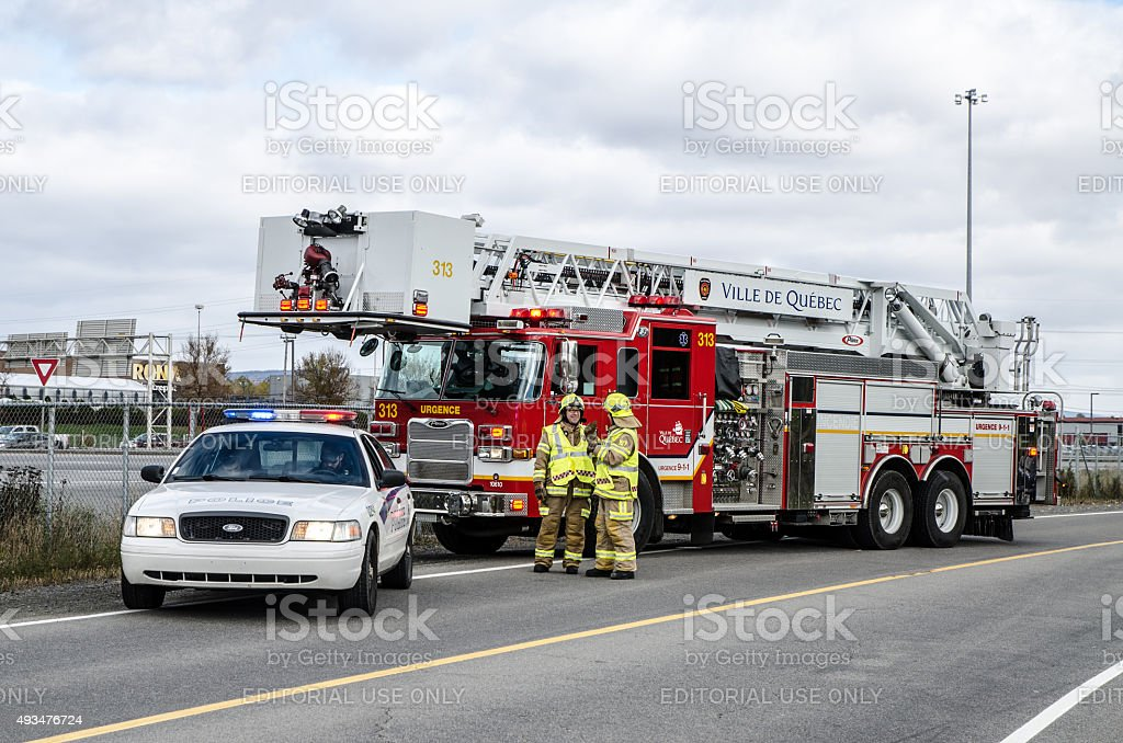 Police car and firetruck stock photo