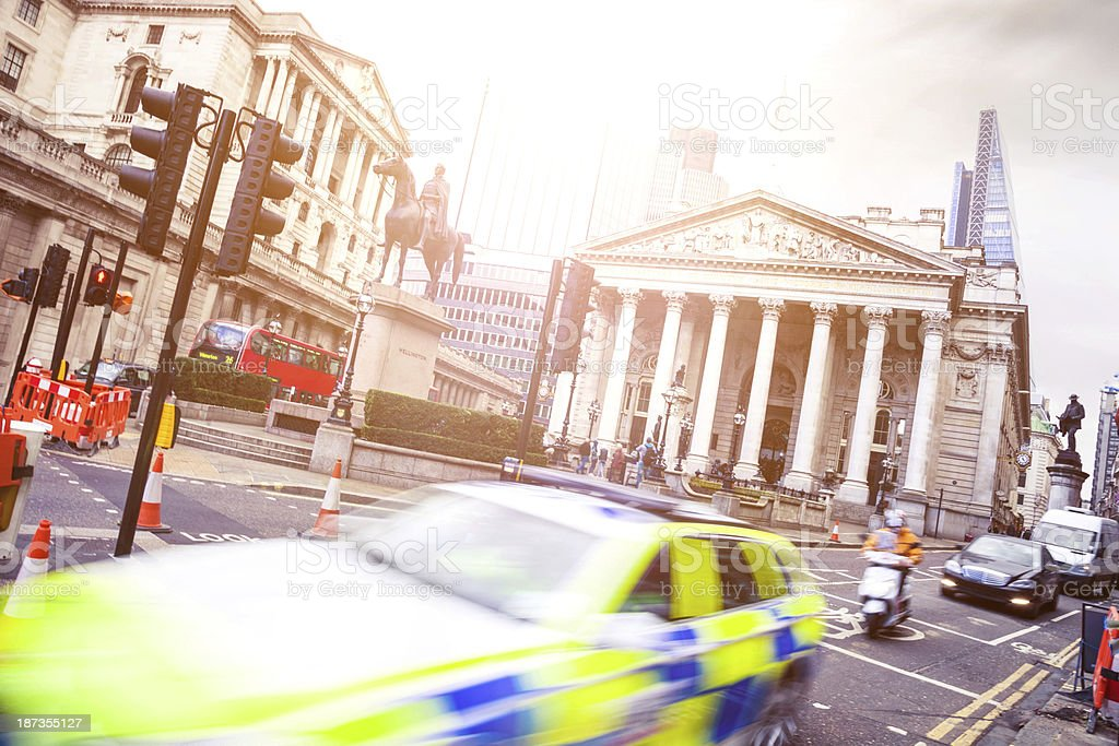 Police Car and The Bank of England royalty-free stock photo