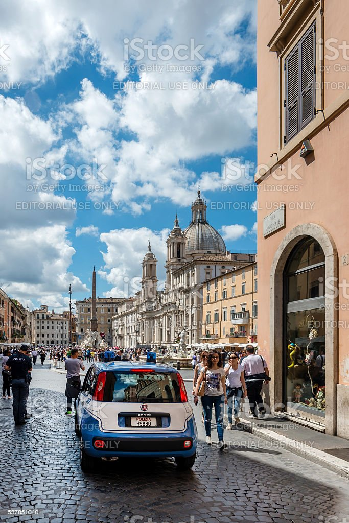 Police car at Piazza Navona, Rome stock photo