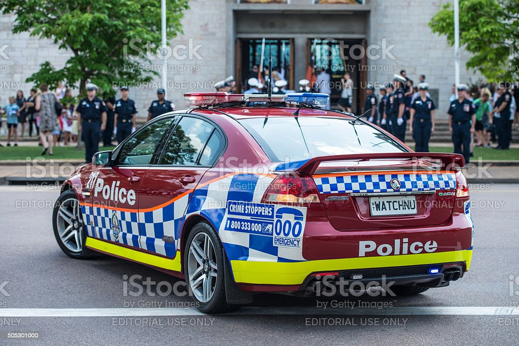 NT Police car at  Remembrance Day stock photo
