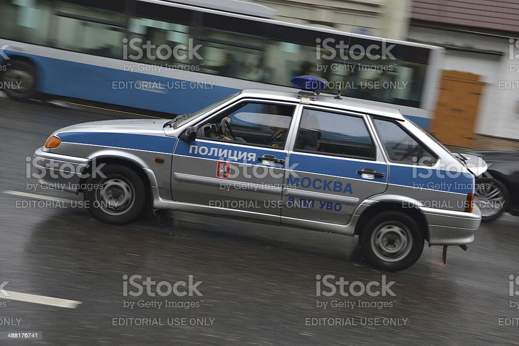 Police car at the Moscow street stock photo