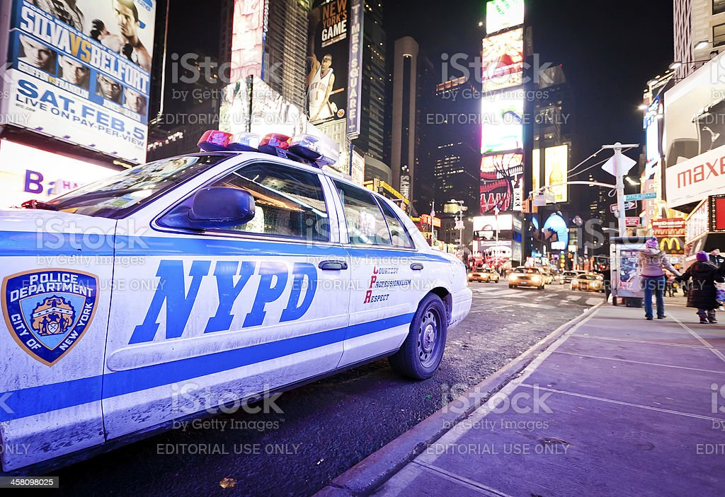 Police car at Times Square stock photo