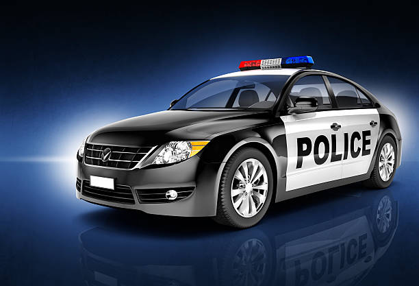 police car automobile vehicle transportation stock photo
