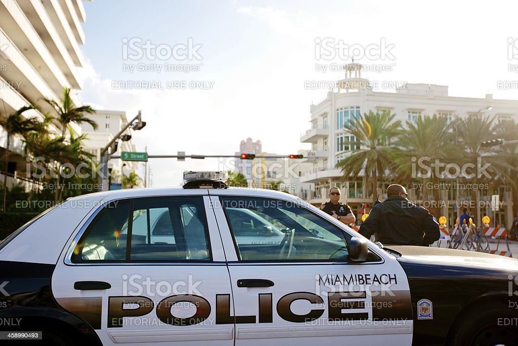 Police car blocking Ocean Drive for holidays, Miami Beach royalty-free stock photo