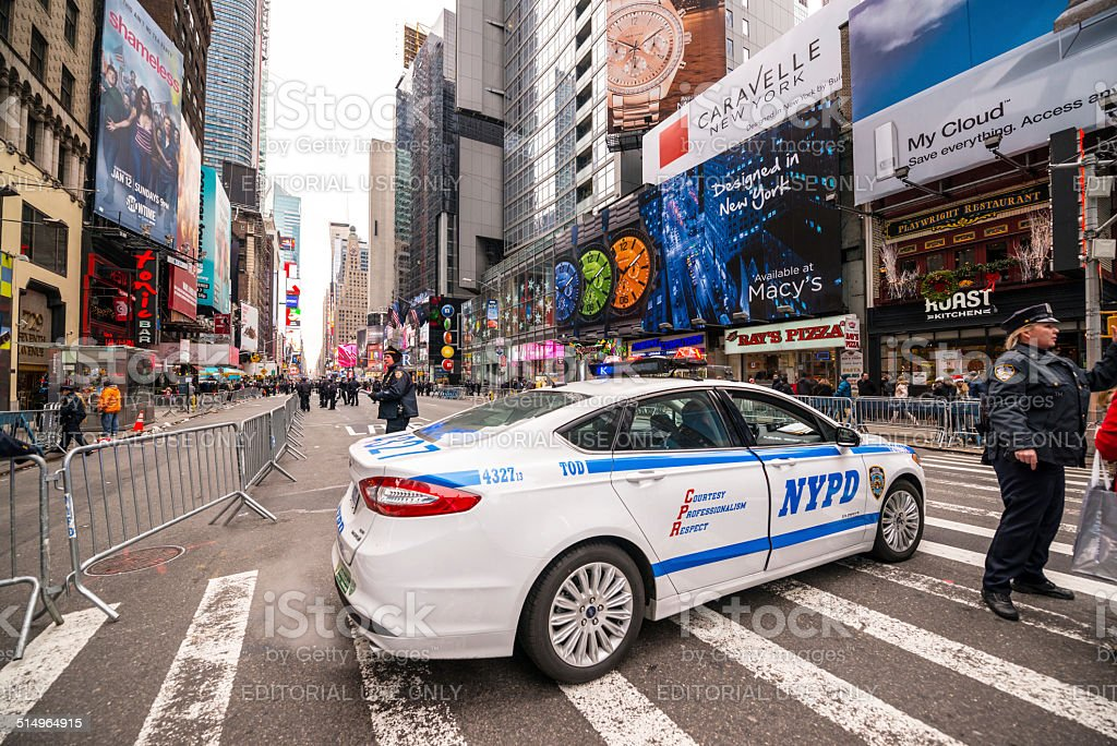 Police car blocking Times Square traffic.  New Year Eve stock photo