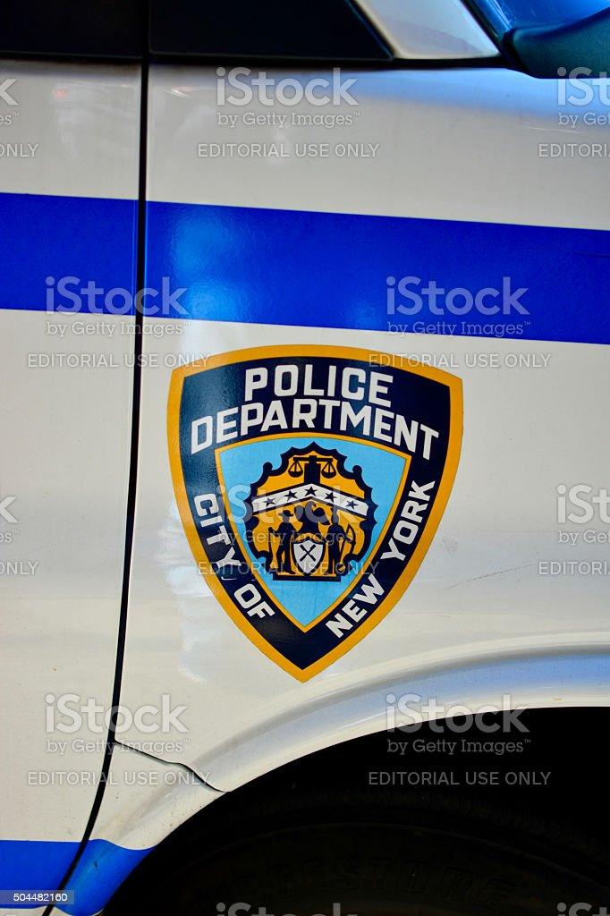Police car close up stock photo