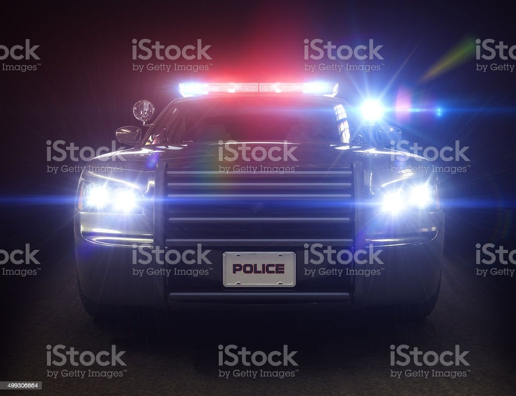 Police car cruiser ,with full array of lights and tactical lights stock photo