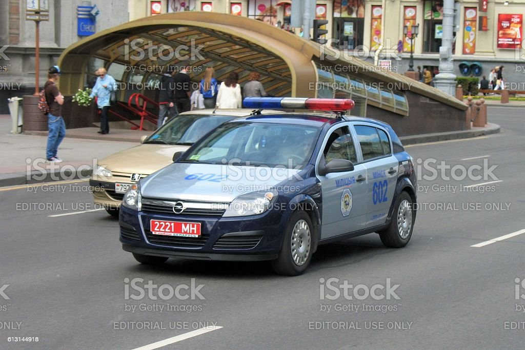 Police car driving on the street in Minsk stock photo