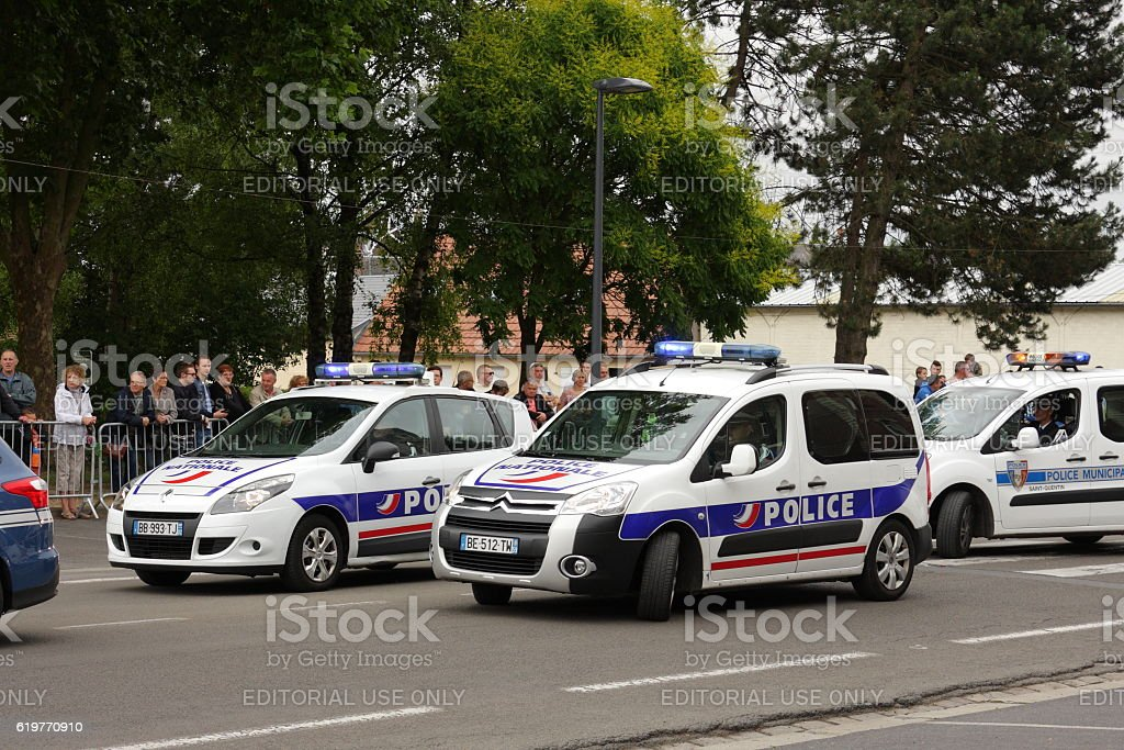 Police car during parade in France. stock photo