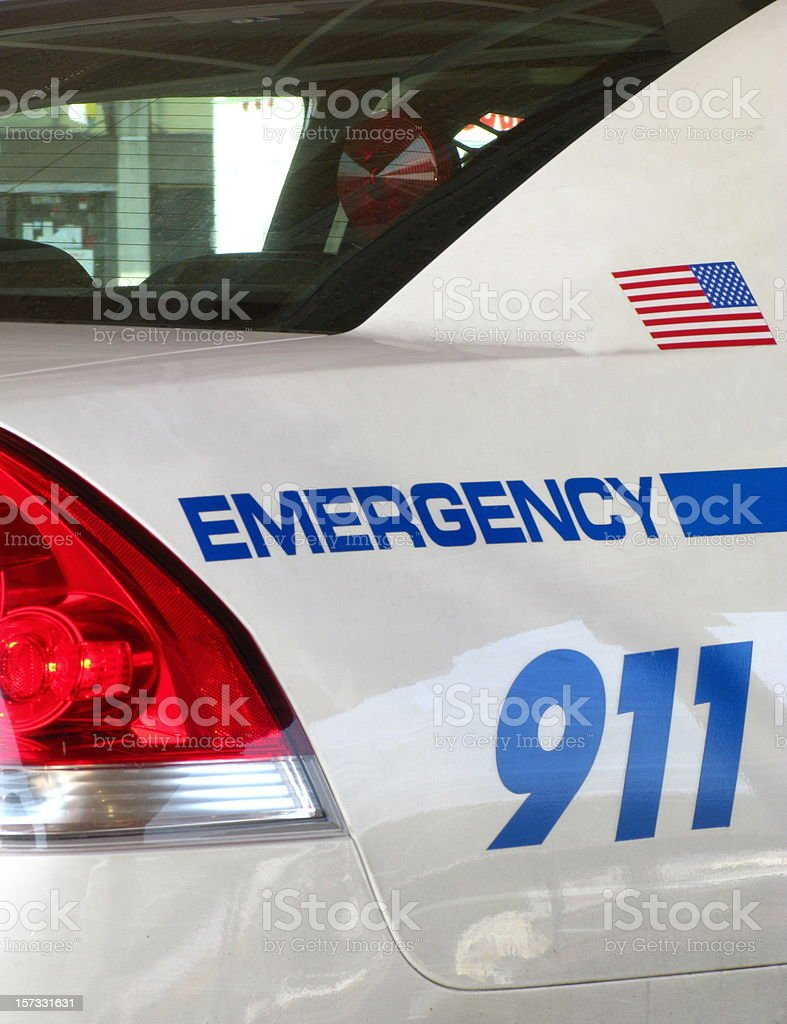 Police Car Emergency 911 Close Up stock photo