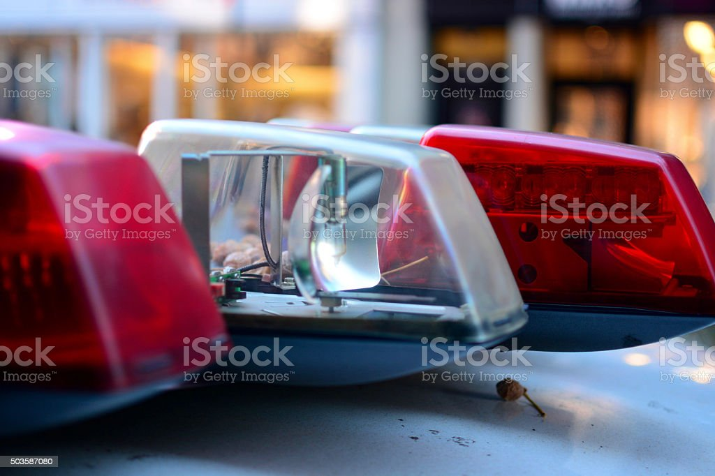 Police car emergency lights close up stock photo
