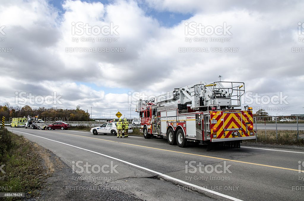 Police car,  firetruck, tow truck and ambulance stock photo