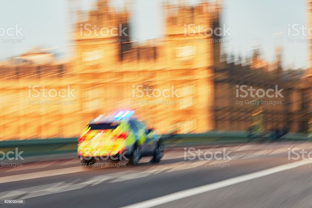 Police car in action stock photo