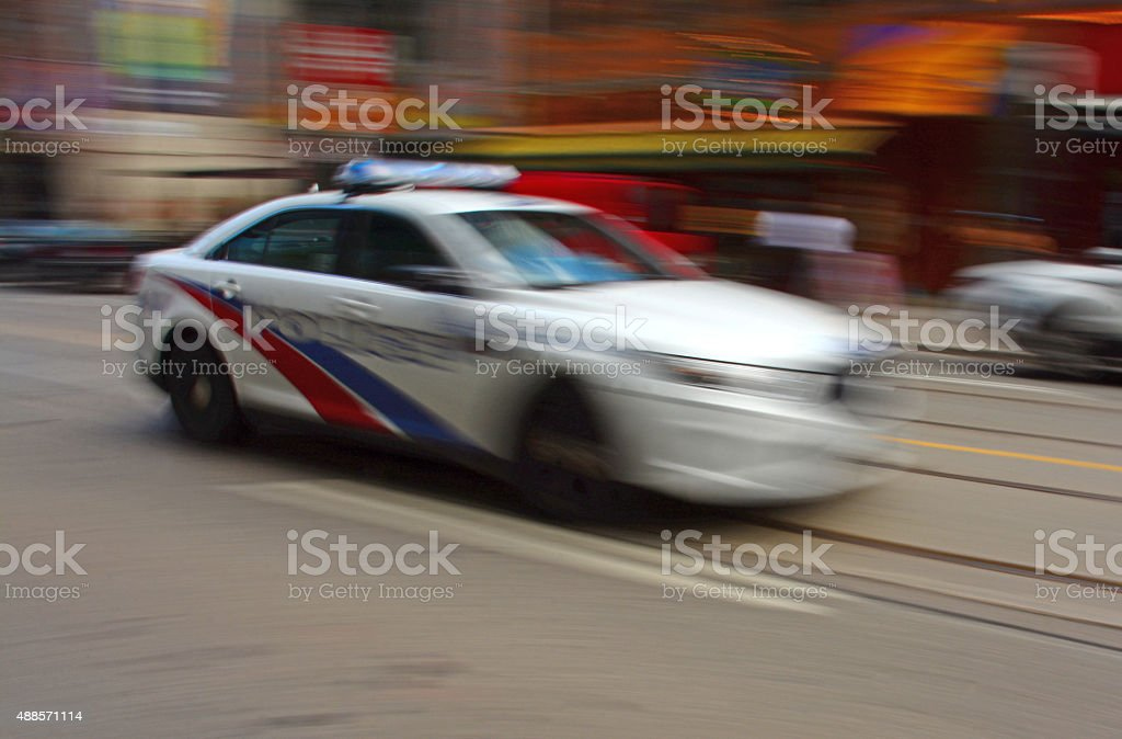 Police car in blurred motion stock photo