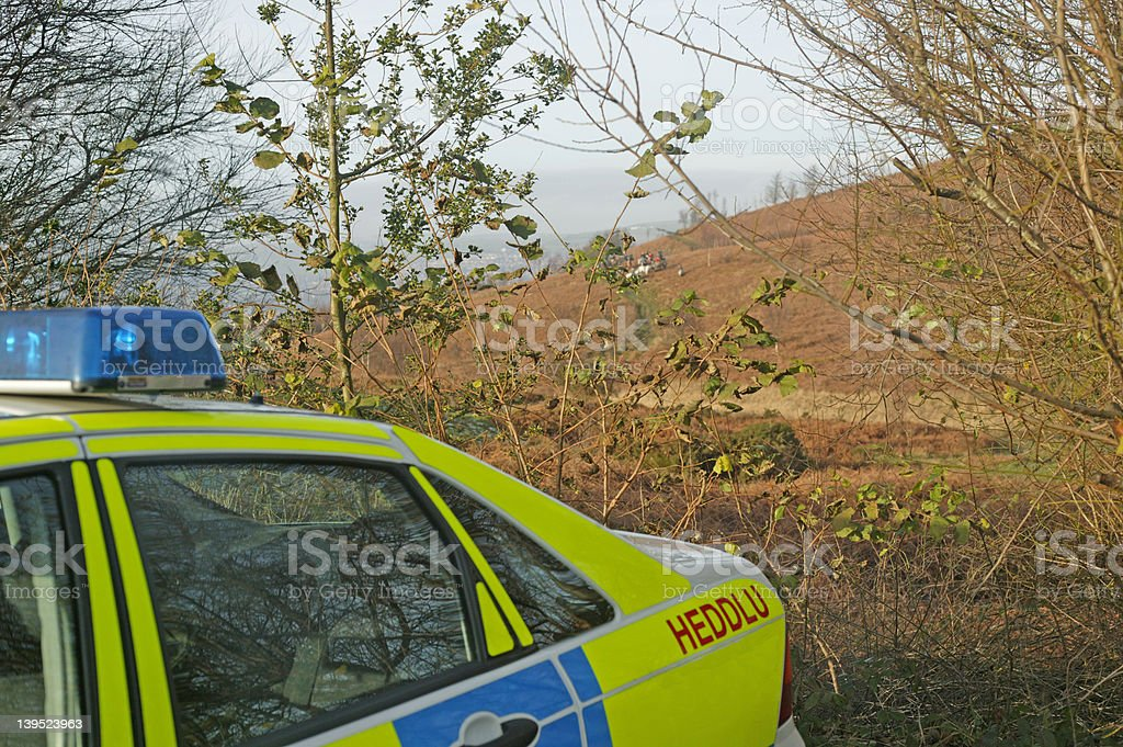 Police car in Wales (UK) following Hunt stock photo
