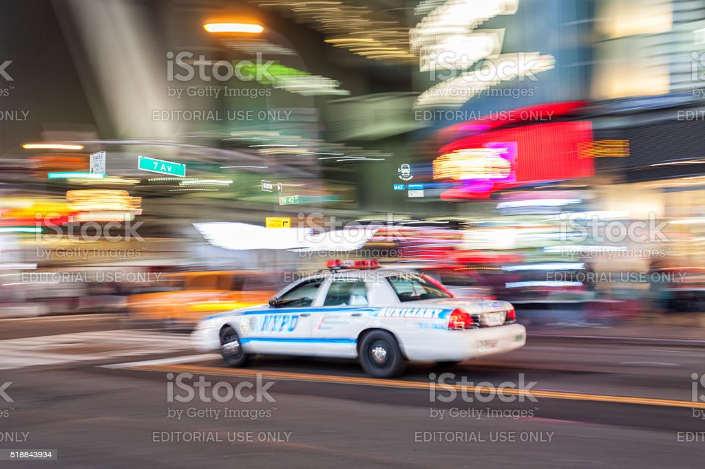 Police car on 7th Avenue at Times Square, New York stock photo