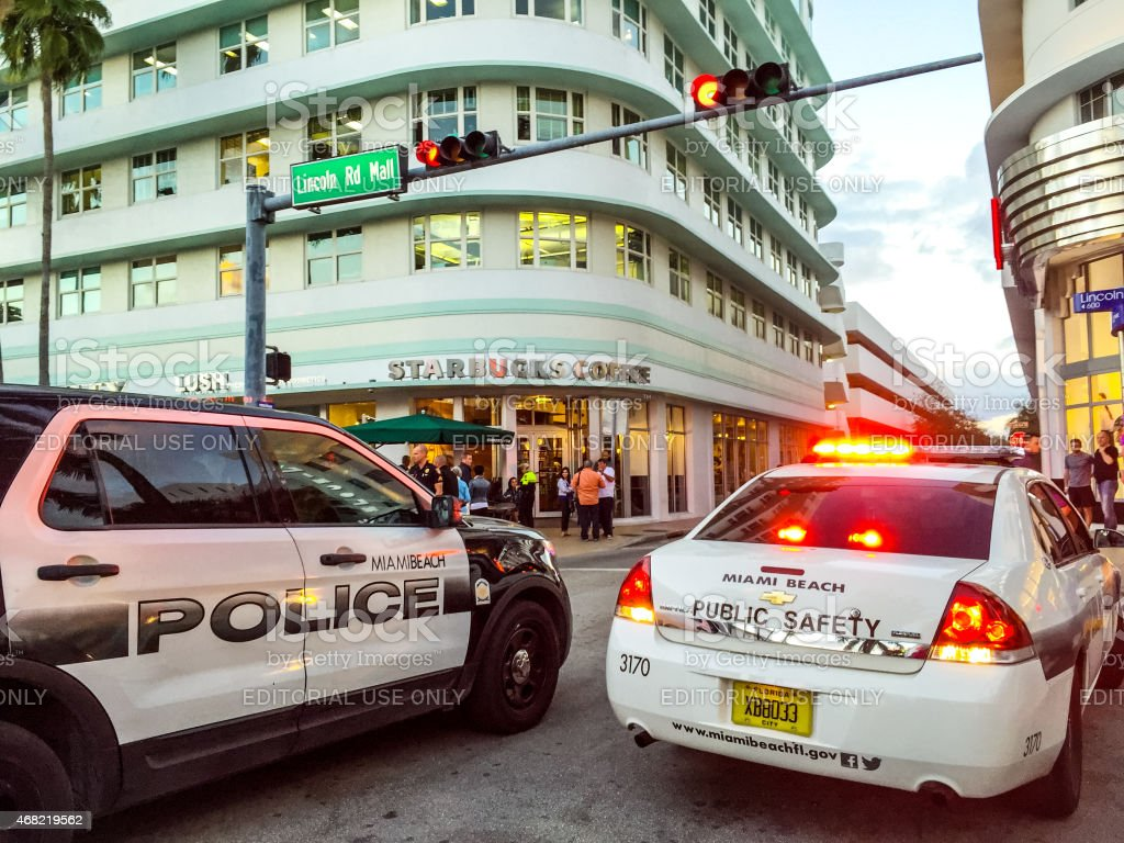 Police car on Lincoln Road Mall stock photo