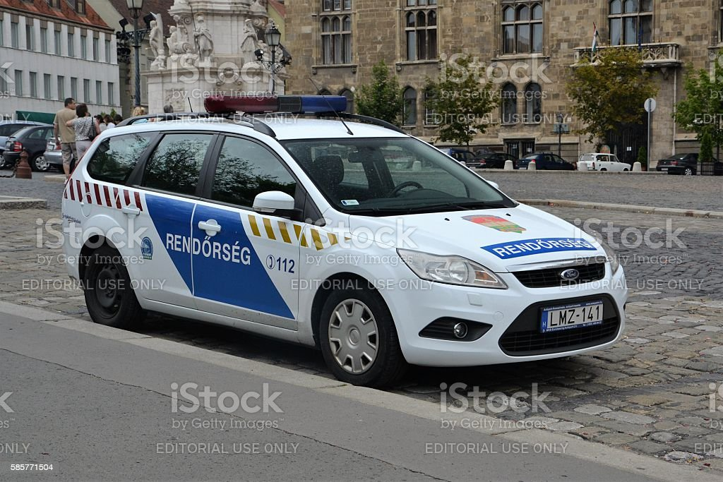 Police car on the street in Budapest stock photo