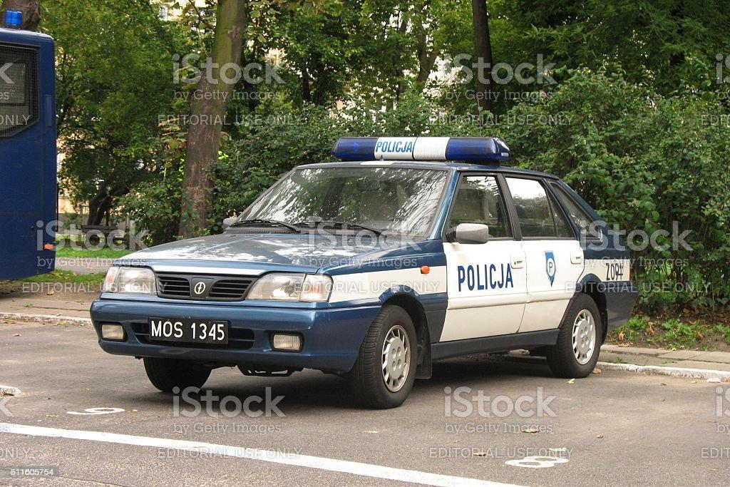 Police car on the street stock photo