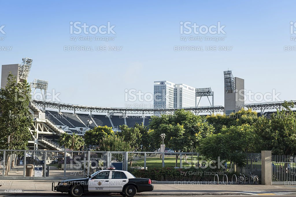 Police car parked in front of the Petco park stock photo