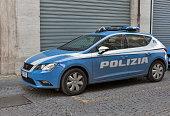 Police car parked near the police station in Rimini, Italy.