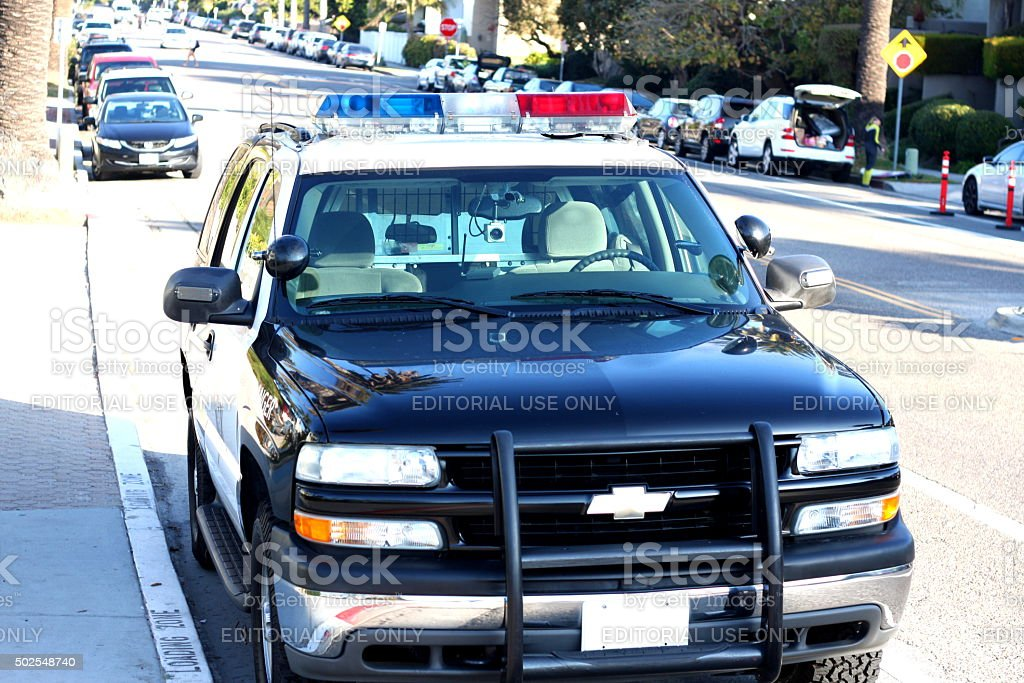 Police Car Parked on the Street stock photo