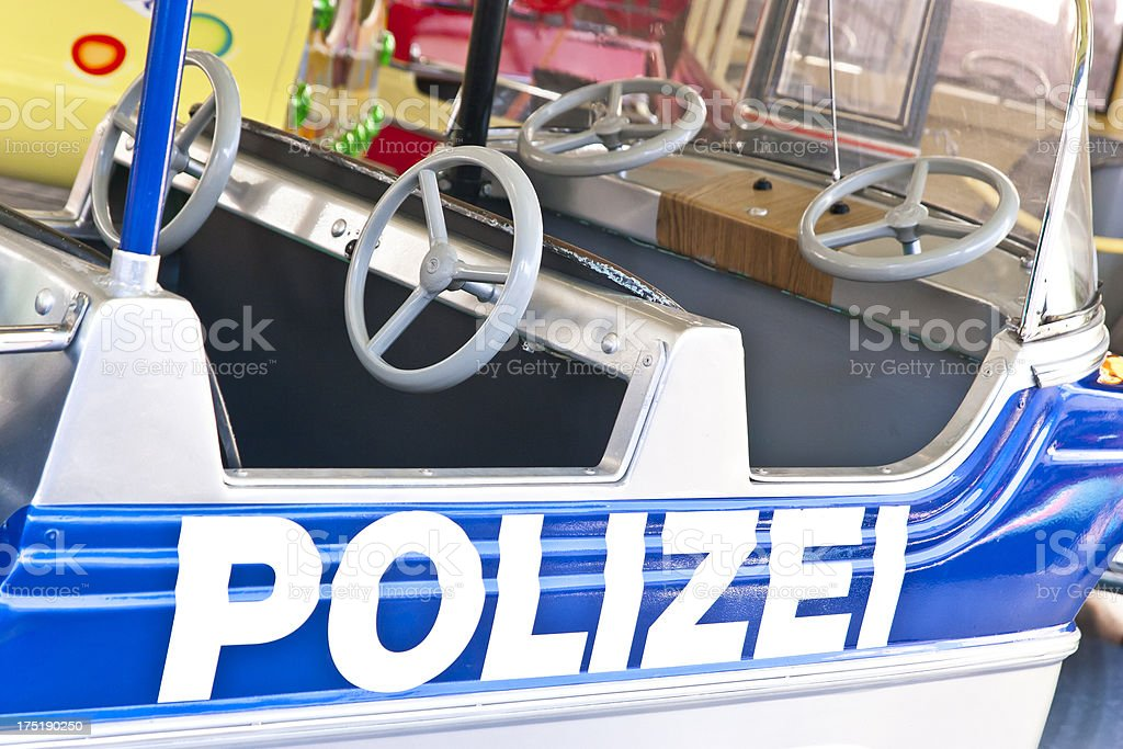Police car with four steering wheels royalty-free stock photo