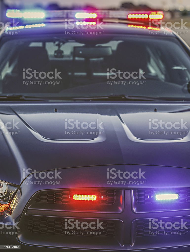 Police car with lights flashing stock photo