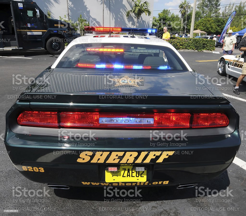 Police car with lights on stock photo